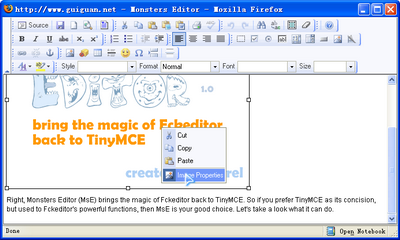 Context menu of Monsters Editor (MsE)