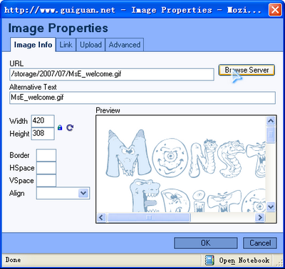 Image Properties dialog for Monsters Editor (MsE)